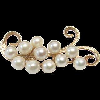 Vintage Estate Ming's of Honolulu Mid Century 14K High Luster Cultured Pearl Pin Brooch
