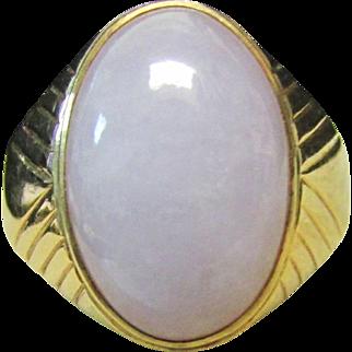 Vintage Estate 14K  Mens Gents Jade Cabochon Ring