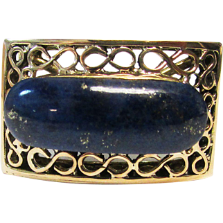 Vintage Estate 14K Yellow Gold Lapis Lazuli with Gold Flecks Ring