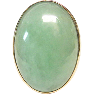 Vintage Estate Men's 14K Extra Large Very Translucent Jade Double Cabochon Ring
