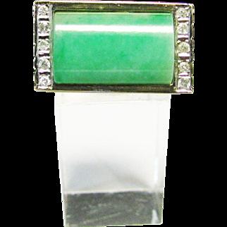 Vintage Estate Modernist Men's 14K Translucent Saddle Cut Jade with Diamond Accents Ring