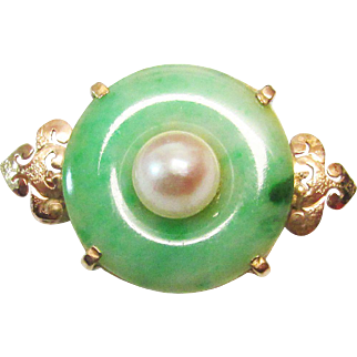 Vintage Estate Ming's of Honolulu Mid Century Dainty 14K Carved  Bi or Pi Jade with Cultured Pearl Center Brooch