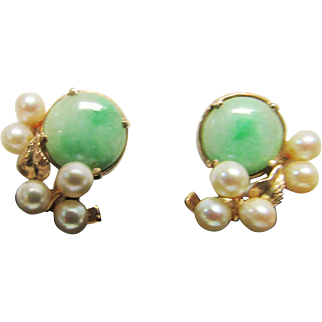 Vintage Estate Mid Century Ming's of Honolulu Jade with High Luster White Pink Toned Cultured Pearl Earrings