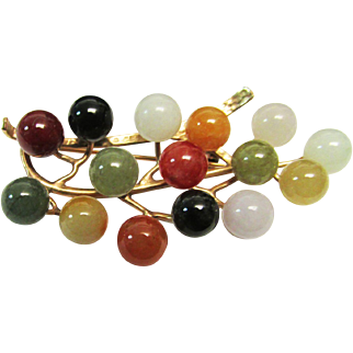 Vintage Estate Mid Century Ming's of Honolulu 14K 15 Multi Color Jade Ball Pin Brooch