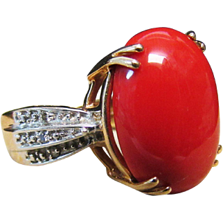 Vintage Estate LeVian 14KT Yellow Gold with White Gold Accent Red Coral and Diamond Ring