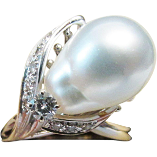 Vintage Estate 14K White Gold High Luster Light Gray White South Sea Pearl with Diamond Accent Ring
