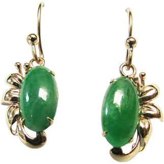 Vintage Estate Mid Century 14K Gold Translucent  Jade Marquise Cut Dangle Drop Earrings