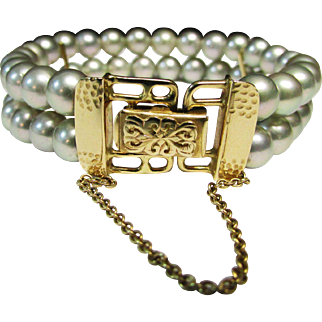 Vintage Estate Ming's of Honolulu Beautiful Ornate 14K Gold Clasp High Luster Nacre Double Strand Gray Cultured Pearl Bracelet