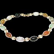 "Vintage Estate Mings of Honolulu 14K Gold 16"" Translucent Jade and Cultured  Pearl Gold Links Necklace"