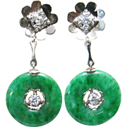 Vintage Estate Mid Century GIA Certified 14K White Gold Translucent Green Jade with Diamond Accents Earrings