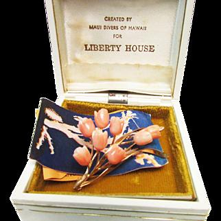 Vintage Estate 14K Maui Divers Hawaiian Carved Pink Coral Floral Brooch with Original Box