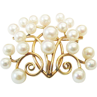 Vintage Estate Beautiful Mid Century Ming's of Honolulu 14K 21 High Luster Pink White Cultured Pearl Pin Brooch
