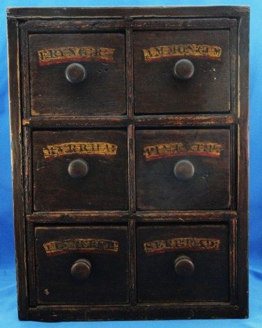 19th C. English Apothecary Chest in Original Paint
