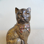 Cast Iron Cat Coin Bank early 1900's Original Paint