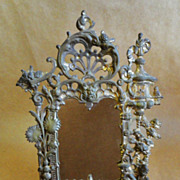19th C. Solid Brass Ornate Victorian Mirror