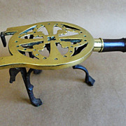 Early Brass, Iron, and Wood Adjustable Trivet c. 1800