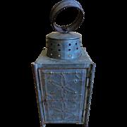 19th C. Tin Punch and Glass Lantern