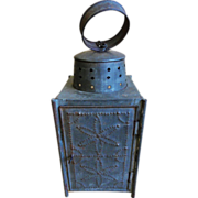 19th C. Tin Punch and Glass Lantern