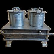 19th C. Child's Tin Toy Stove w/ Pots
