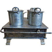 19th C. Child's Tin Toy Stove w/ Pots