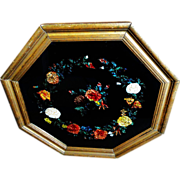 19th C. Tinsel Reverse Painting on Glass in Octagonal Frame