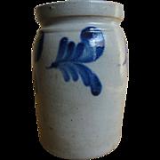 19th C. PA Stoneware Jar with Blue Decoration
