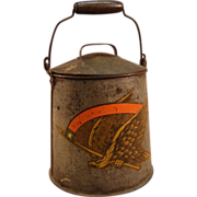 19th Century Tin Pail with Eagle Transfer