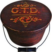 19th C. Bail Handled Pantry Box with Original Paint Decoration