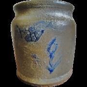 "19th C. Miniature 3"" Blue Decorated Stoneware Crock"