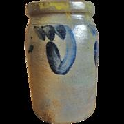 "7"" Stoneware 1 Quart Canning Crock with Blue Decoration"