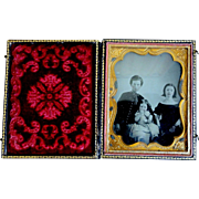 19th C. Quarter Plate Ambrotype of 3 Children