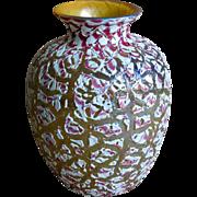 Large Durand Moorish Crackle Art Glass Vase