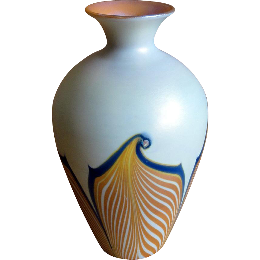 Signed durand pulled feather art glass vase sold on ruby lane