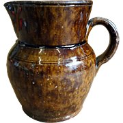 19th C. Redware Pitcher w/ Manganese Glaze