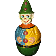 Early 20th Century Papier Mache Painted Roly Poly Clown with Hair and Moving Glass Eyes