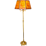 Vintage Arts & Crafts Floor Lamp with Amber Mica and Applied Paper Decorated Shade