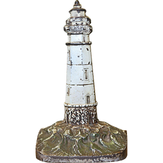 Antique Cast Iron Hand Painted Figural Lighthouse Doorstop