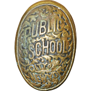 Antique Public School City of New York Brass Door Knob with Connecting Rod