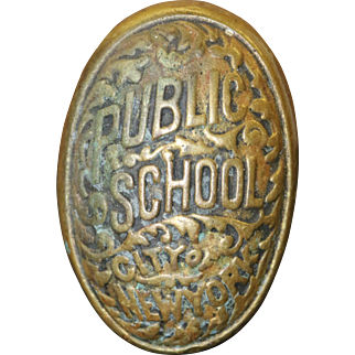 Antique Public School City of New York Brass Door Knob with Connecting Rod