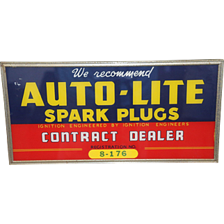 Vintage Auto-lite Spark Plug Contract Dealer Plaque With Registration Number
