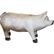 19th Century Chalkware Pig with Painted Details