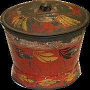 Rare Early PA Red Toleware Sugar Bowl
