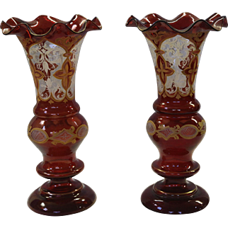 Pair of 19th C Hand Painted Bohemian Art Glass Vases
