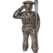 Hubley Antique Cast Iron Sailor Still Bank, Circa Early 1900s