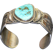 Vintage Native American Navajo Sterling Silver and Turquoise Cuff Bracelet