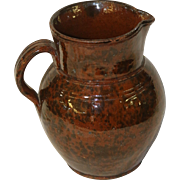 Early to Mid 19th C Manganese Decorated Redware Pitcher