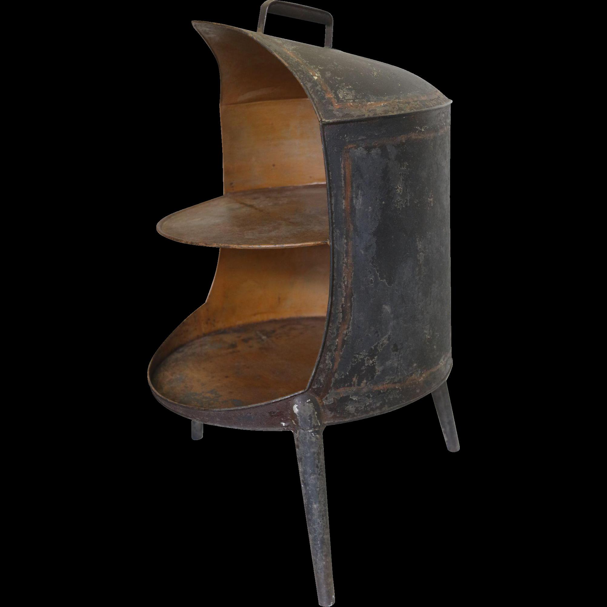 Mid 19th C Tin Three Legged Painted Plate Warmer