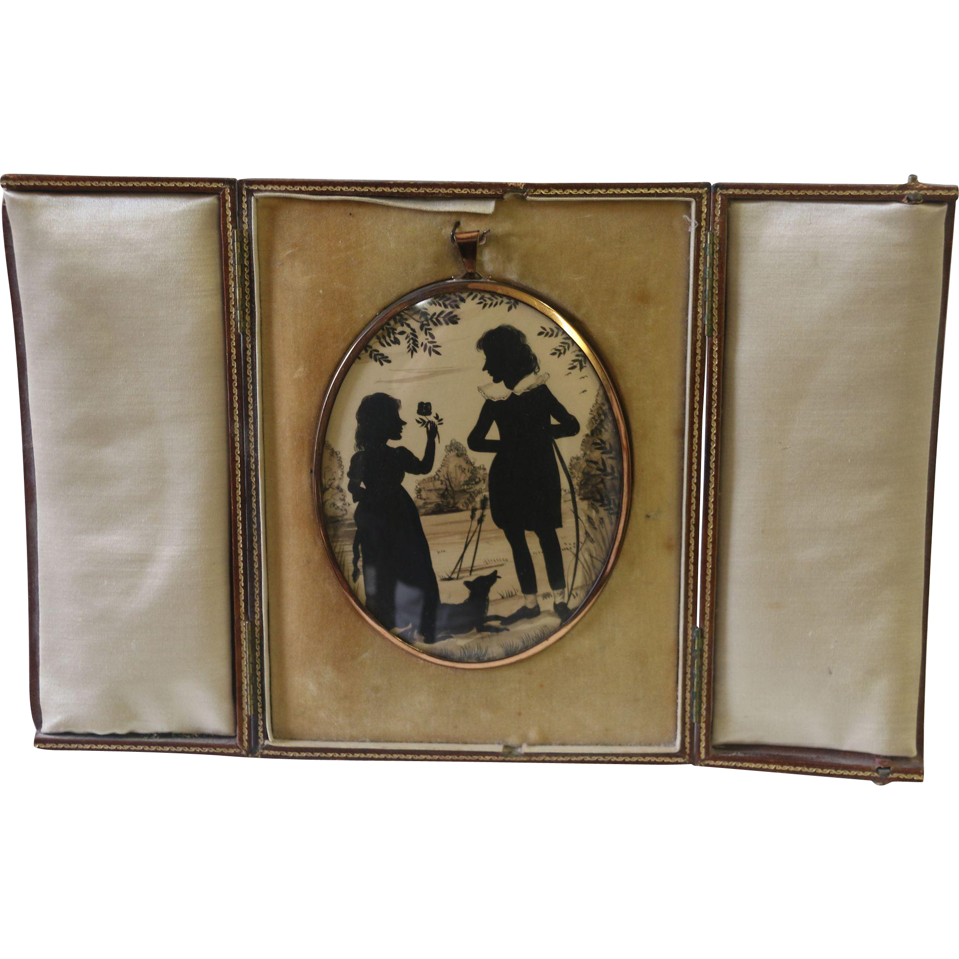 Mid 19th Century Painted Silhouette of a Beau, His Girl & Dog Hung in a Leather Folio Frame