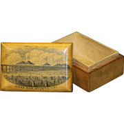 Antique Atlantic City Ocean Pier Mauchline Ware Souvenir Box