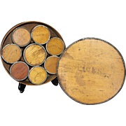 19th Century Tin BoundBentwood Pantry Spice Box with Eight Spice Canisters
